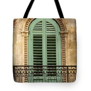 Green Shutters And Balcony In Verona Tote Bag