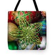 Green Star Christmas Ornament Tote Bag by Garry Gay