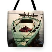 Green Stationary Boat At Waters Edge Tote Bag