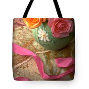 Green Vase With Roses Tote Bag