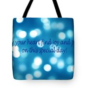 Greeting Card Blue With White Lights Tote Bag