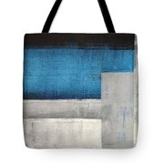 Straight Forward - Teal And Grey Abstract Art Painting Tote Bag