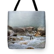 Grey Wolf Jumping Over A Mountain Stream Tote Bag