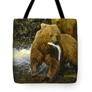 Grizzly Bear And Cubs Tote Bag