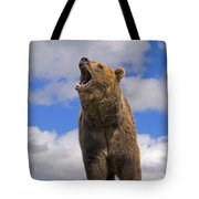 Grizzly Bear Roaring Tote Bag