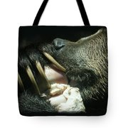 Grizzly Eating Tote Bag