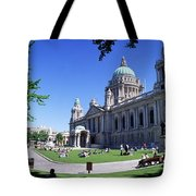 Group Of People Outside A Building Tote Bag