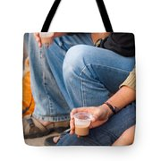 Group Of Teenagers Sitting And Drinking Tea Tote Bag