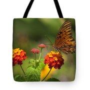 Gulf Fritillary Butterfly On Colorful Lantana  Tote Bag