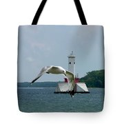 Gull And Lighthouse Tote Bag