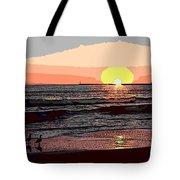 Gulls Enjoying Beach At Sunset Tote Bag