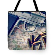 Gun And Bullets On Map Tote Bag