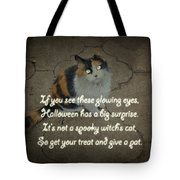 Halloween Calico Cat And Poem Greeting Card Tote Bag