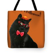 Halloween Card - Black Cat Ready To Party Tote Bag