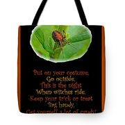Halloween Card - Spider And Poem Tote Bag