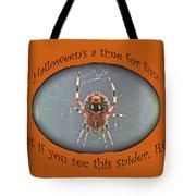 Halloween Greeting Card - Marbled Orb Weaver Spider Tote Bag