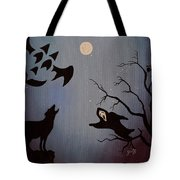 Halloween Night Party Original Painting Placemat Doormat Tote Bag