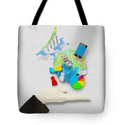 Hand And Globe On Hand Made Paper  Tote Bag