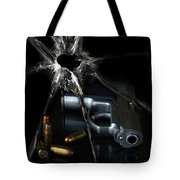 Handgun Bullets And Bullet Hole Tote Bag