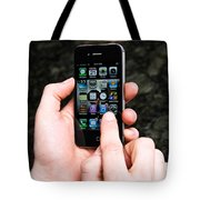 Hands Holding An Iphone Tote Bag