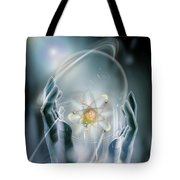 Hands With Atom In Capsule Tote Bag