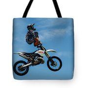 Hanging On Motorcycle Tricks  Tote Bag