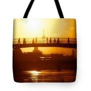 Hapenny Bridge Over River Liffey River Tote Bag