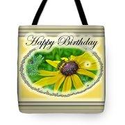 Happy Birthday Card    Black-eyed Susan And Bee Tote Bag
