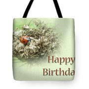 Happy Birthday Greeting Card - Ladybug On Dried Queen Anne's Lace Tote Bag
