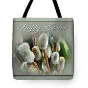 Happy Easter Greeting Card - Pussywillows Tote Bag