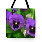 Happy Faces Purple Pansies Tote Bag