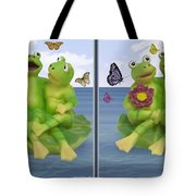 Happy Frogs - Gently Cross Your Eyes And Focus On The Middle Image Tote Bag