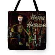 Happy Halloween Skeleton Greeting Card Tote Bag