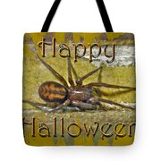 Happy Halloween Spider Greeting Card Tote Bag