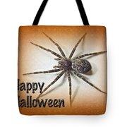 Happy Halloween Spider Greeting Card - Dolomedes Tenebrosus Tote Bag