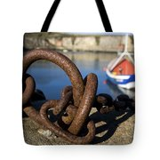 Harbour With Mooring And Fishing Boat Tote Bag by John Short