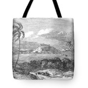 Havana, Cuba, 1851. /na View Of The Harbor And Fort Of Atares. Wood Engraving, English, 1851 Tote Bag