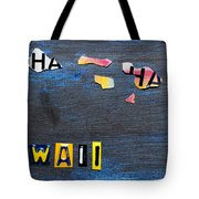 Hawaii License Plate Map Tote Bag
