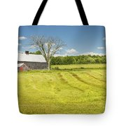 Hay Being Harvested Near Barn In Maine Tote Bag