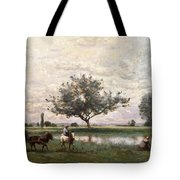 Haycart Beside A River  Tote Bag