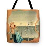 Head In Wind Surrealistic Frame Boards Tree And Hair Waving In Wind Beige Blue Grey Tote Bag