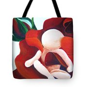 Healing Painting Baby Sitting In A Rose Detail Tote Bag