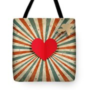 Heart And Cupid With Ray Background Tote Bag