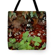 Heart Shaped Clover And  Dew Drops Tote Bag