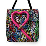 Heart Shaped Pink Pencil Tote Bag