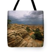 Heavy Clouds Over A Rocky Desert Tote Bag