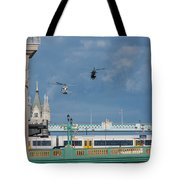 Helicopters Tower Bridge Tote Bag