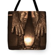 Henna Art On An Indian Bride Tote Bag