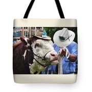 Hereford Bull With Akubra Hat In Hyde Park Tote Bag by Kaye Menner