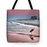 Heron And Beach House Tote Bag